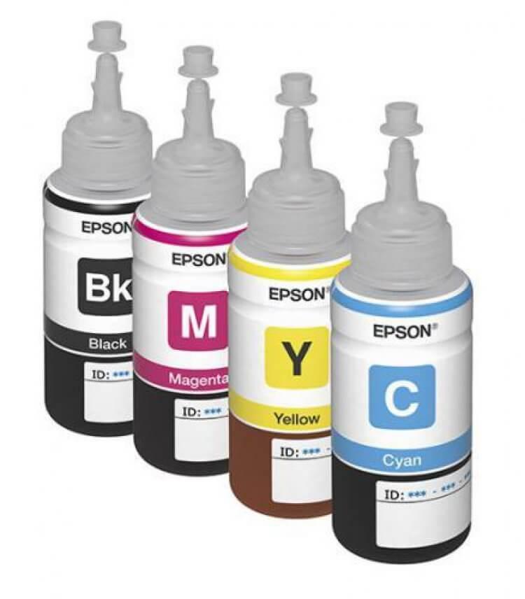Оригинальные чернила для Epson L222 (70 мл, 4 цвета)Оригинальные чернила для Epson. цвета: Cyan, Magenta, Yellow, Black, емкость баночек - по 70 мл.<br>