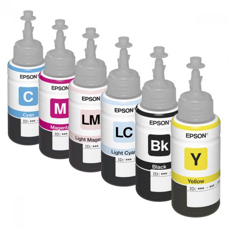 Оригинальные чернила для Epson L800 (70 мл, 6 цветов)Оригинальные чернила для Epson. цвета: Cyan, Magenta, Yellow, Black, Light Cyan, Light Magenta емкость баночек - по 70 мл.<br>