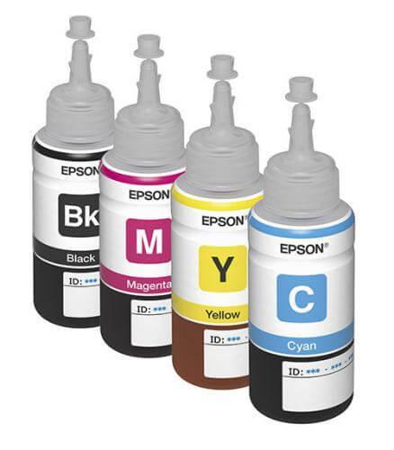 Оригинальные чернила для Epson L100 (70 мл, 4 цвета)Оригинальные чернила для Epson. цвета: Cyan, Magenta, Yellow, Black, емкость баночек - по 70 мл.<br>