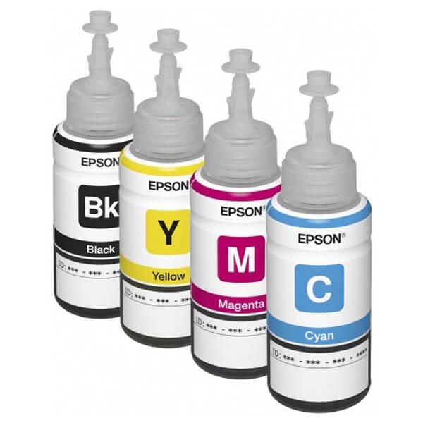 Оригинальные чернила для Epson L130 (70 мл, 4 цвета)Оригинальные чернила для Epson. цвета: Cyan, Magenta, Yellow, Black, емкость баночек - по 70 мл.<br>
