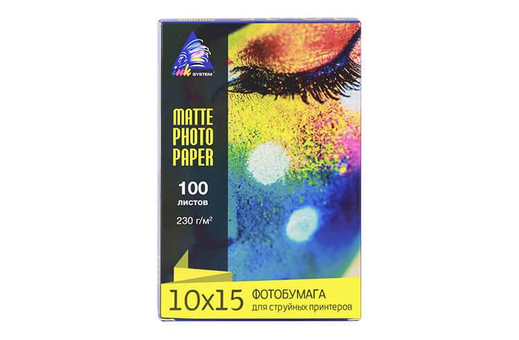 Матовая фотобумага INKSYSTEM Matte Photo Paper 230g, 10x15, 100 листов от Inksystem