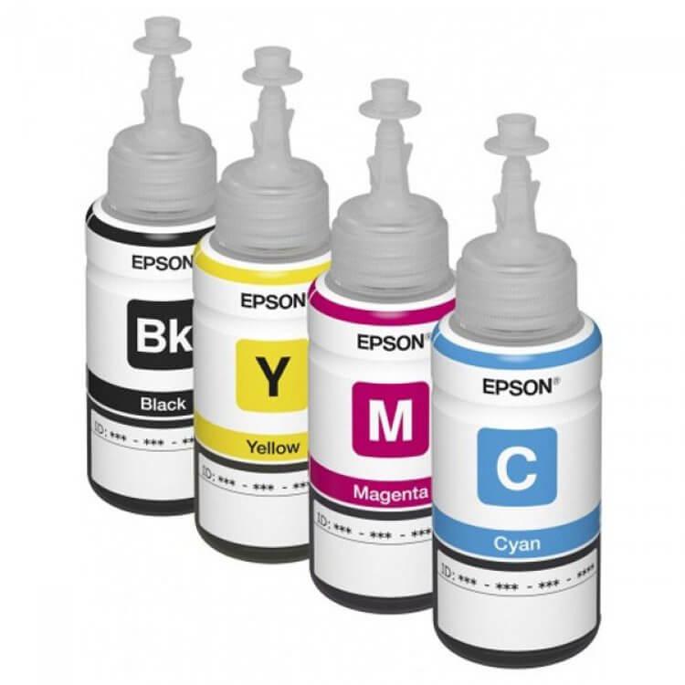 Оригинальные чернила для Epson L1455 (3 цветных по 70мл + 1 черный пигмент 140 мл) epson l1455