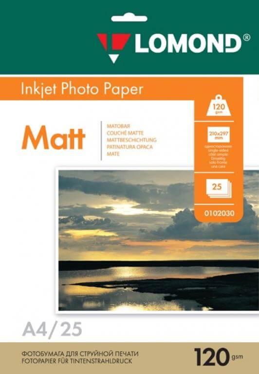 Матовая фотобумага LOMOND двусторонняя A4, 130г/м2, 25 листов