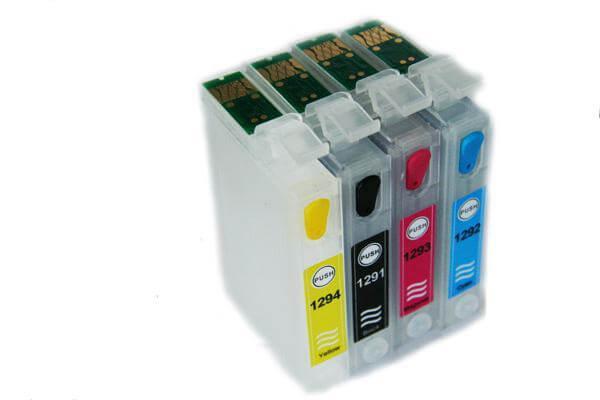 Перезаправляемые картриджи для Epson Stylus Office SX525WDПерезаправляемые картриджи изготовлены по аналогии с оригинальными картриджами, однако имеют обнуляющиеся чипы, которые позволяют дозаправлять каждый картридж снова и снова, до нескольких сотен раз.<br>