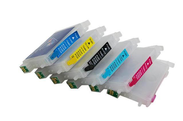 Перезаправляемые картриджи для Epson Stylus Photo RX620Перезаправляемые картриджи изготовлены по аналогии с оригинальными картриджами, однако имеют обнуляющиеся чипы, которые позволяют дозаправлять каждый картридж снова и снова, до нескольких сотен раз.<br>