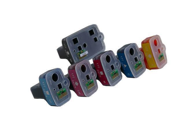 Перезаправляемые картриджи для HP PhotoSmart C6100 series (картриджи 02, 363, 177)Перезаправляемые картриджи изготовлены по аналогии с оригинальными картриджами, однако имеют обнуляющиеся чипы, которые позволяют дозаправлять каждый картридж снова и снова, до нескольких сотен раз.<br>