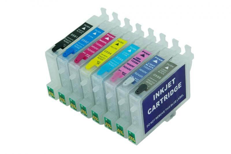 Перезаправляемые картриджи для Epson Stylus Photo R2400Перезаправляемые картриджи изготовлены по аналогии с оригинальными картриджами, однако имеют обнуляющиеся чипы, которые позволяют дозаправлять каждый картридж снова и снова, до нескольких сотен раз.<br>