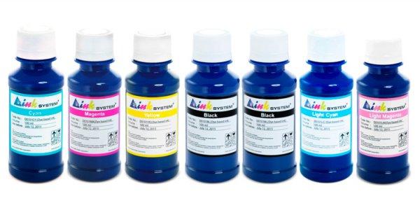 Чернила INKSYSTEM для фотопечати на Epson Stylus Photo 950 (фоточернила)Комплектация: 7 банок по 100 мл, цвета: Cyan, Magenta, Yellow, Black, Black, Light Cyan, Light Magenta. Фоточернила INKSYSTEM обеспечивают точную цветопередачу, при этом качество отпечатков на 95-98% соответствует оригинальным чернилам.<br>