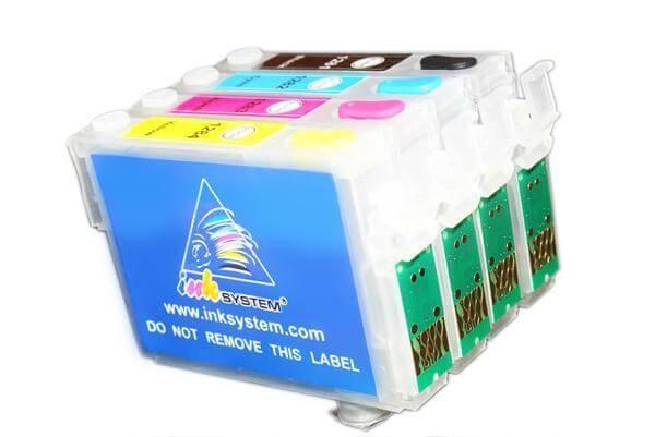 Перезаправляемые картриджи для Epson Stylus SX215Перезаправляемые картриджи изготовлены по аналогии с оригинальными картриджами, однако имеют обнуляющиеся чипы, которые позволяют дозаправлять каждый картридж снова и снова, до нескольких сотен раз.<br>