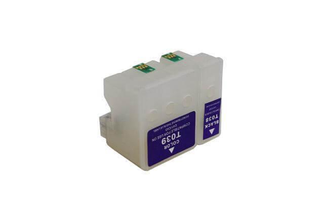 Перезаправляемые картриджи для Epson Stylus C46Перезаправляемые картриджи изготовлены по аналогии с оригинальными картриджами, однако имеют обнуляющиеся чипы, которые позволяют дозаправлять каждый картридж снова и снова, до нескольких сотен раз.<br>