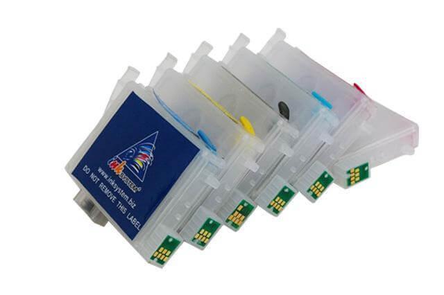 Перезаправляемые картриджи для Epson Stylus Photo RX500Перезаправляемые картриджи изготовлены по аналогии с оригинальными картриджами, однако имеют обнуляющиеся чипы, которые позволяют дозаправлять каждый картридж снова и снова, до нескольких сотен раз.<br>