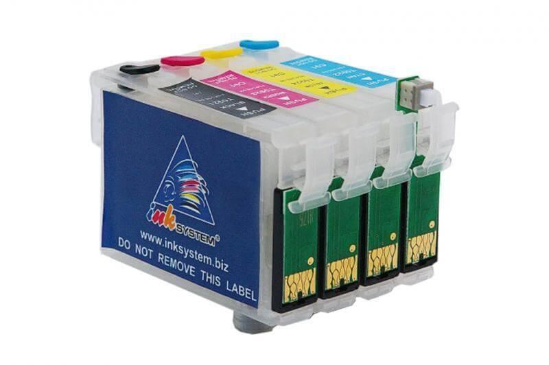 Перезаправляемые картриджи для Epson Stylus TX100Перезаправляемые картриджи изготовлены по аналогии с оригинальными картриджами, однако имеют обнуляющиеся чипы, которые позволяют дозаправлять каждый картридж снова и снова, до нескольких сотен раз.<br>