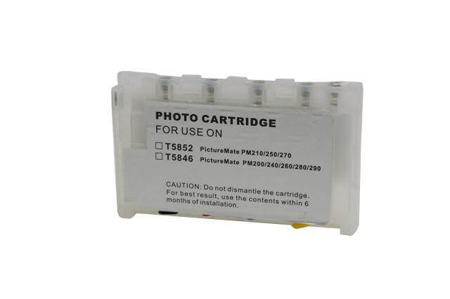 Перезаправляемые картриджи для Epson Picture Mate 100Перезаправляемые картриджи изготовлены по аналогии с оригинальными картриджами, однако имеют обнуляющиеся чипы, которые позволяют дозаправлять каждый картридж снова и снова, до нескольких сотен раз.<br>