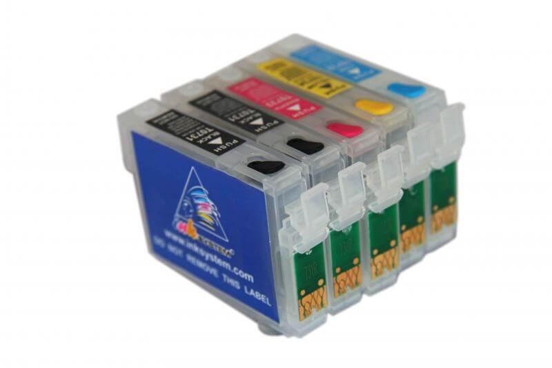 Перезаправляемые картриджи для Epson Stylus Office T1100Перезаправляемые картриджи EPSON T1100 изготовлены по аналогии с оригинальными картриджами, однако имеют обнуляющиеся чипы, которые позволяют дозаправлять каждый картридж снова и снова, до нескольких сотен раз.<br>