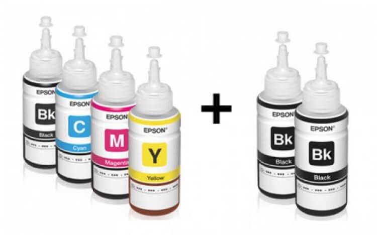 Оригинальные чернила для Epson L300 (70мл, 3 цветных + 3 черных)Оригинальные чернила для Epson. цвета: Cyan, Magenta, Yellow, Black (3 шт), емкость баночек - по 70 мл.<br>