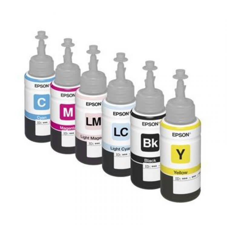 Оригинальные чернила для Epson L850 (70 мл, 6 цветов)Оригинальные чернила для Epson. цвета: Cyan, Magenta, Yellow, Black, Light Cyan, Light Magenta емкость баночек - по 70 мл.<br>