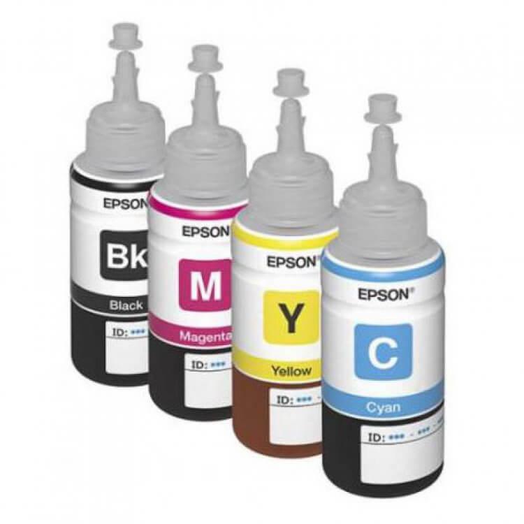 Оригинальные чернила для Epson L456 (70 мл, 4 цвета)Оригинальные чернила для Epson. цвета: Cyan, Magenta, Yellow, Black, емкость баночек - по 70 мл.<br>